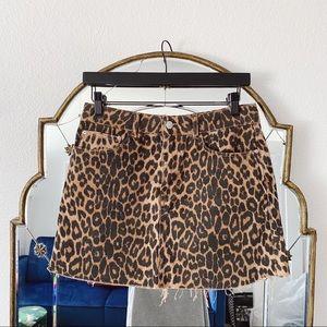 Zara cheetah leopard denim skirt raw hem